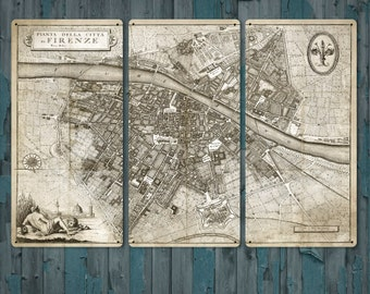 """Vintage Map of Florence METAL triptych 36x24"""" FREE SHIPPING"""