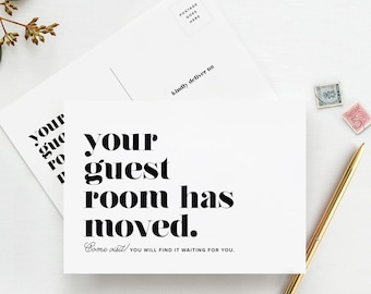 50 Pack — Moving Announcement Postcards, Your Guest Room Has Moved, Funny New Home Announcement from Bliss Collections - BPBMA_2