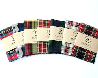 Tartan Plaid Pocket Square~Wedding Accessory~Anniversary Gift~Mens Pocket Square~Preppy Gift~Christmas Pocket Square~Mens Pocket Square