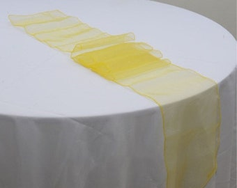 10x Yellow / Buttercup Organza Table Runners Wedding Banquet Ceremony Feast Birthday Anniversary Sheer Chair Sashes Party Venue Decorations