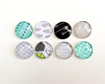 Happy Place - set of 8 glass magnets - turquoise black grey and white patterns - fun and colorful