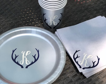 Deer antler plates, napkins, and cups
