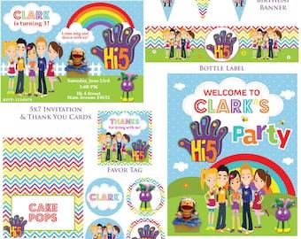 Customized Hi-5 Digital Printable Birthday Invitation and Party Kit