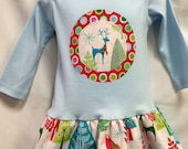 Christmas Tunic Dress- Modern Holiday Colored Reindeer ...