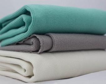 Birch Organic Ribbed Knit Cotton Fabric, Shroom, by the half-yard
