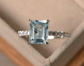 Aquamarine engagement ring, sterling silver, emerald cut aquamarine, promise ring, March birthstone ring