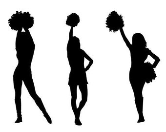 """Clear stamp (1"""" x 2.5"""") FLONZ clingy acrylic stamp // Cheerleaders Silhouettes [Pack of three]"""