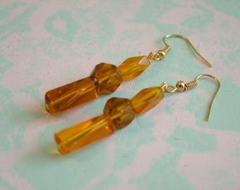 Amber Glass Dangling Earrings