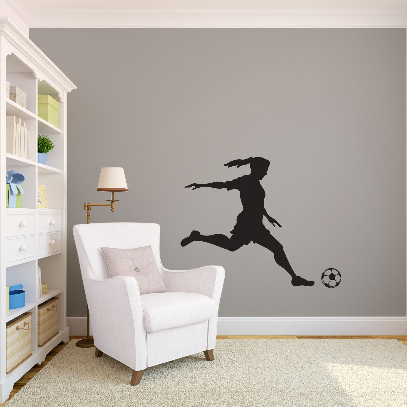 ?zoom & Medium Girl Soccer Player Kicking Silhouette Sports Wall