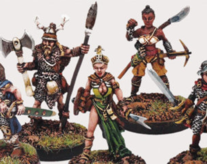 Elfsera Adventures Miniatures Set #2 (5) Solid Pewter, Fully Painted - 40511 - Crystal Caste