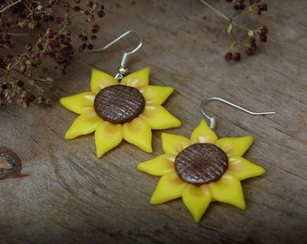 Earrings Sunflowers Sunflower jewelry Sunflower earrings Yellow earrings Flower earrings Flower jewelry Summer earrings Yellow flower