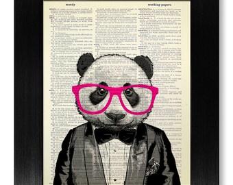PANDA Art, Cute Home OFFICE DECOR, Geek Art, Geeky Poster, Nerdy Gift, Nerd Wall Art Wall Decor Room Decor, Panda Print with Hipster Glasses