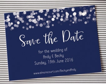 Save the date wedding magnet or card, glittering lights design, navy blue