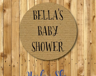 50 x Personalised Kraft Look Baby Shower Stickers Labels Party Favours Invites Gifts