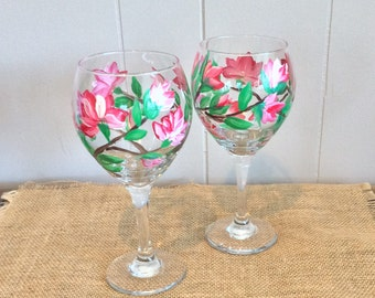 Floral Wine Glass-Mother's Day-Pair of Hand Painted Wine Glasses-Decorated Wine Glass-Stemware-Hand Painted Flowers-Decorated Wine Glass
