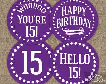 Purple 15th Birthday Cupcake Toppers - Purple White 15th Birthday Toppers - 15 Year Old Party Decorations - 15th Birthday Decor IMPP
