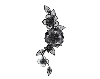 Black Flowers Iron On Applique, Lace Flowers Iron On Patch, Flower Applique, Lace Patch, Floral Patch, Flowers Patch, Embroidered Patch