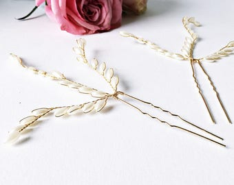2x Hair pins: Hair jewelry wedding in gold