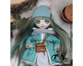 Textile doll 9 inches doll and interior doll fabric doll portrait doll cloth textile doll текстильная кукла selfie doll portrait doll