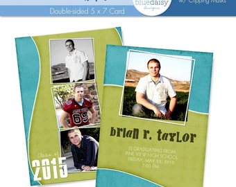5x7 Graduation Announcement (Brian) Photoshop Template for Photographers