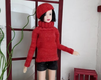 Hand knitted red long sleeve sweater set for Momoko