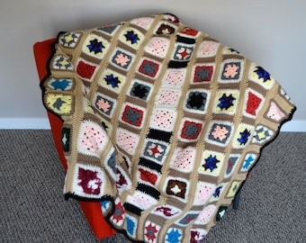 Vintage Afghan Earthy Hippie Granny Square Big Bang Style