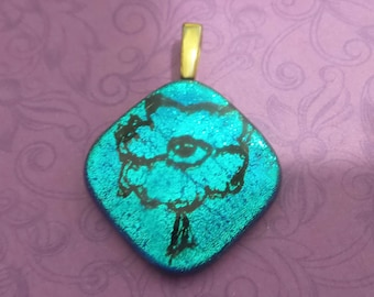 Aqua Blue Fused Glass Pendant, Ready to Ship, Glass Fusing Jewelry, Chameleon Glass, Fused Glass Jewelry - On My Own - 3224 -5