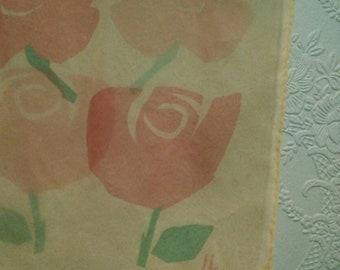 Vintage Vera Beige Chiffon Rose Floral Pattern Oblong Scarf Sheer
