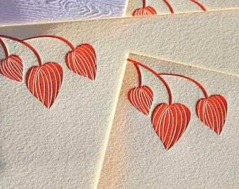 Personalized Letterpress Stationery Lantern Blossoms Tangerine Orange