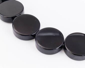 "8mm Grade ""A"" Black Onyx Coin Bead (25 Pcs)"