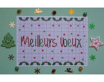 Map Postcard greetings with embroidery pattern