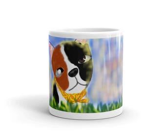 Printed Mug - Original Design - Digital Drawing of a cute puppy dog - Art By Sarah E Smith, Autistic Savant Artist - Dog Day Afternoon