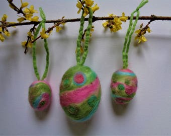 3 pieces of Easter eggs, Easter, felted eggs for attaching, Easter