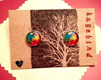 Rainbow Watercolor 12mm post earrings
