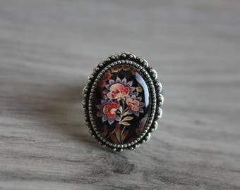 """ring cabochon vintage Bohemian """"Flower retro"""" silver plated, glass, dark red brown"""