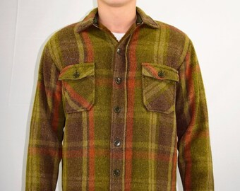 Vintage 70s Men's Green Brown Plaid Lined Flannel Shirt Jacket by VIP - Size M/L