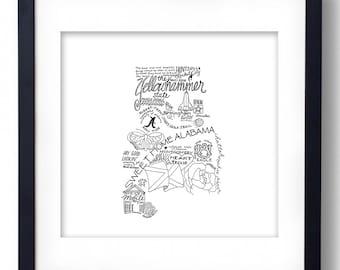 Alabama - Hand drawn illustrations and type