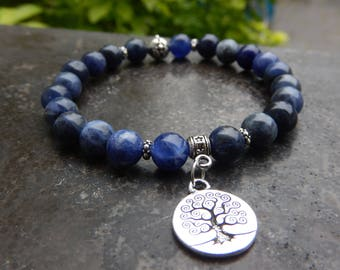 Natural stone bracelet with sodalite 8 mm and tree of life silver medal