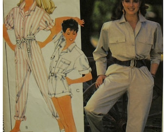 Brooke Shields Jumpsuit Pattern, Shirt Top, Long/Roll Up Sleeves, Romper, Long/Short Pants, Collar, 1980s, McCalls 8926 UNCUT Size 6 8