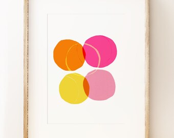 Circles wall art print. 'Circles series 1'. Modern art print. Abstract geometric.