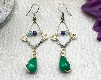 Green Jade Earrings, Fluorite Earrings