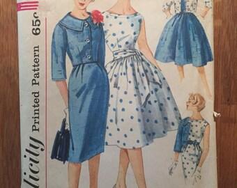 Vintage 1960s Simplicity Dress and Jacket Pattern #3340 Size 16 Bust 36 - NC - Jacket Pattern / 60s Simplicity / 60s Dress