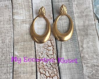 Vintage inspired brass earrings,statement earrings, fall, dangle earrings, hoop earrings,