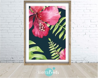 Sumptuous Hibiscus Print, Romance, Watercolour, Illustration, Digital Download, Wall Art, Trending, Opulent, Rich, Colours, Grand Design,
