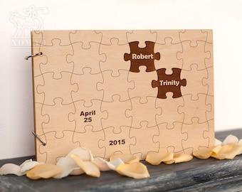 Unique Wedding Guest Book, Custom Rustic wedding guest Book, Wooden Wedding GuestBook, Puzzles Bride and Groom, puzzles album, Memory Album