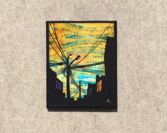 Yellow Tiger, 8x10 inches, original sewn fabric artwork, handmade, freehand appliqué, ready to hang canvas