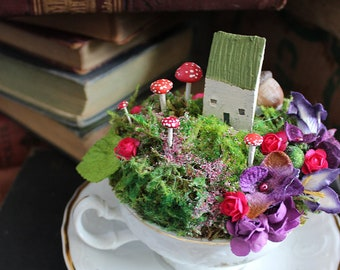 Fairy Garden Cottage in a Chipped Teacup