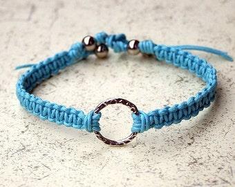 Karma Friendship Bracelet Silver On Turquoise Cotton
