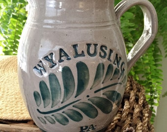 Wyalusing PA -Salt Glazed -Stoneware Pitcher - Green Fern Fronds - 4.5 Cup Signed PS 84