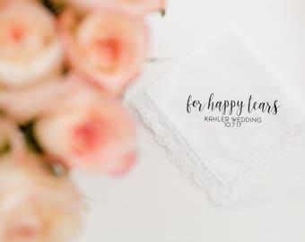 Happy Tears Handkerchief Hanky Custom Bride Wedding Gift